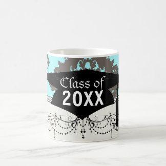 pale aqua blue gray diamond damask graduation basic white mug