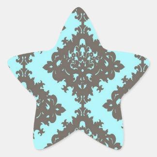 pale aqua blue gray diamond damask star sticker