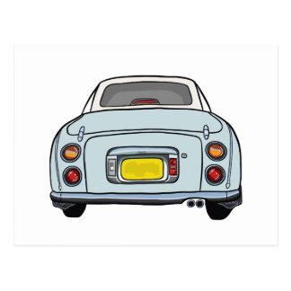 Pale Aqua Blue Nissan Figaro Car Postcard