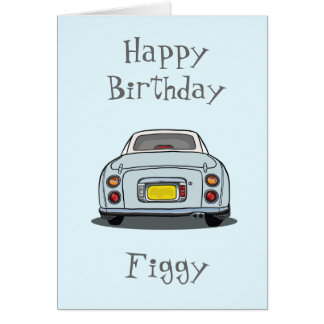 Pale Aqua Nissan Figaro Car Happy Birthday Card