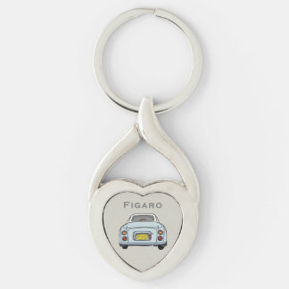 Pale Aqua Nissan Figaro Custom Heart Key Ring