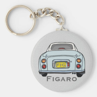 Pale Aqua Nissan Figaro Custom Keyring Basic Round Button Key Ring