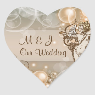 Pale avocado choc cream wedding heart sticker