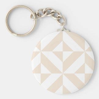 Pale Beige Geometric Deco Cube Pattern Basic Round Button Key Ring