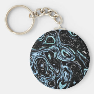 Pale Blue And Black Marble Swirls Keychains