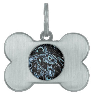 Pale Blue And Black Marble Swirls Pet Tag