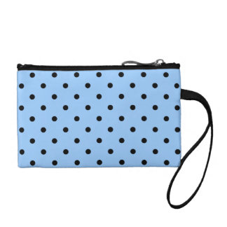 Pale Blue and Black Polka Dot Pattern. Coin Purse
