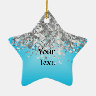 Pale blue and faux glitter christmas ornament