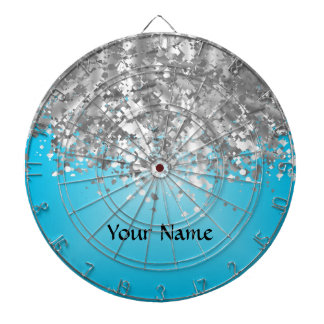Pale blue and faux glitter dartboard