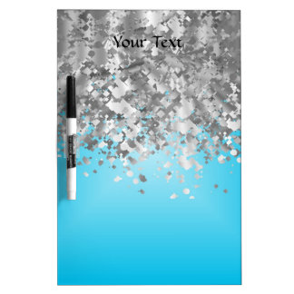 Pale blue and faux glitter dry erase board