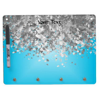 Pale blue and faux glitter dry erase board with key ring holder