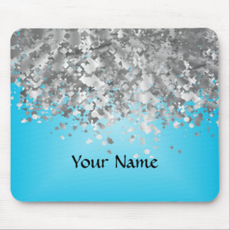 Pale blue and faux glitter mouse pad
