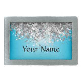 Pale blue and faux glitter rectangular belt buckles