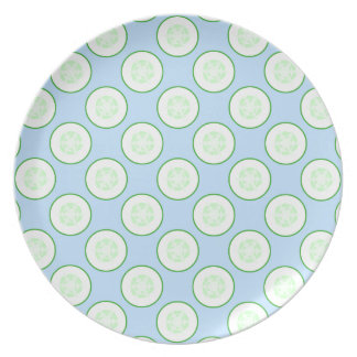 Pale Blue and Green Cucumber Pattern. Plate
