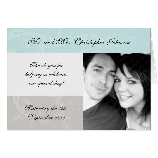 Pale Blue and Grey Wedding Thank You Cards