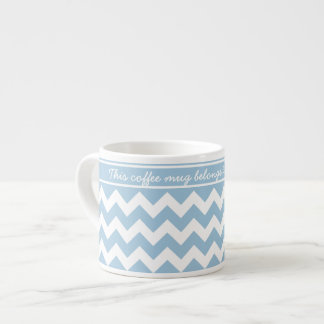 Pale Blue and White Chevrons Espresso Cup