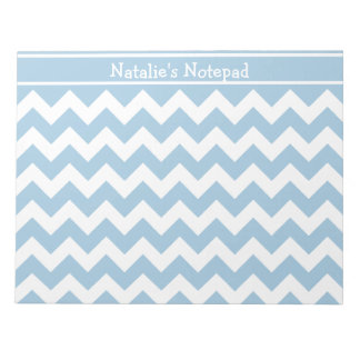 Pale Blue and White Chevrons Pattern Notepad