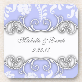 Pale Blue and White Floral Damask Wedding Beverage Coasters