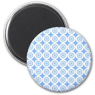 Pale Blue and White Geometric Pattern Circles Fridge Magnet