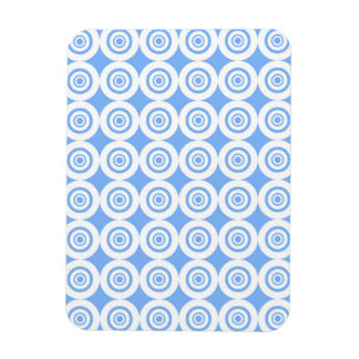 Pale Blue and White Geometric Pattern Circles Rectangle Magnet