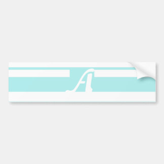 Pale Blue and White Random Stripes Monogram Bumper Sticker