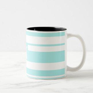 Pale Blue and White Random Stripes Monogram Coffee Mugs