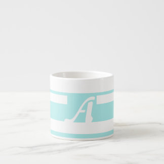 Pale Blue and White Random Stripes Monogram Espresso Cups