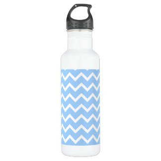 Pale Blue and White Zig zag Stripes. 710 Ml Water Bottle