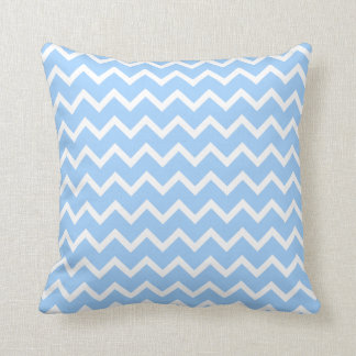 Pale Blue and White Zig zag Stripes. Cushion