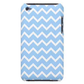 Pale Blue and White Zig zag Stripes. iPod Case-Mate Cases