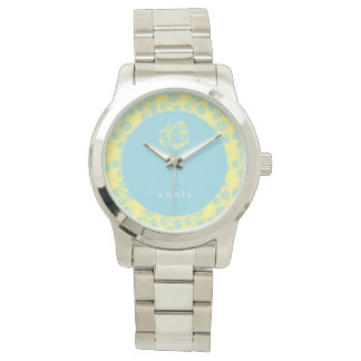 Pale Blue and Yellow Floral Watch