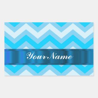 Pale blue chevrons rectangular sticker