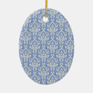 Pale Blue damask Ceramic Oval Decoration