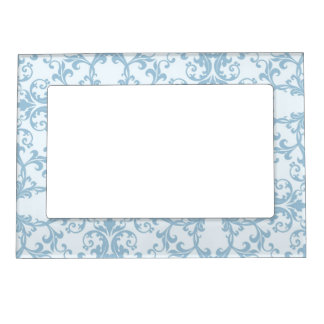 Pale Blue Damask Magnetic Frame