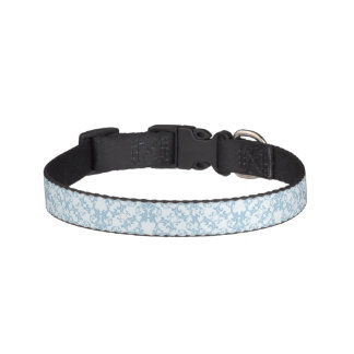 Pale Blue Damask Pet Collar