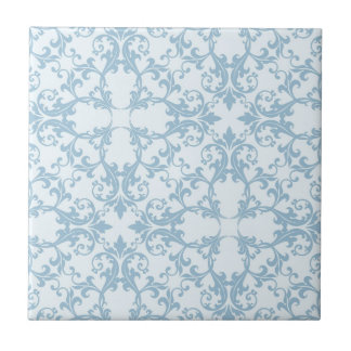 Pale Blue Damask Small Square Tile