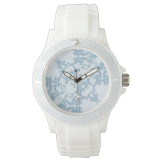Pale Blue Damask Watch