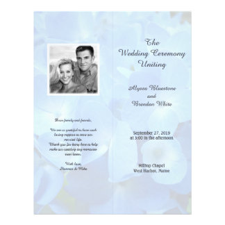 Pale Blue Floral Tall Folded Wedding Program 21.5 Cm X 28 Cm Flyer