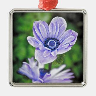 Pale Blue Flower Silver-Colored Square Decoration