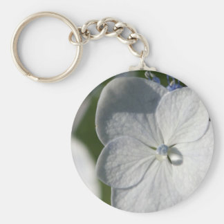 Pale blue flower with rain drop basic round button key ring