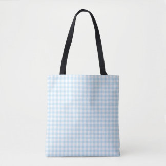 Pale Blue Gingham Check Pattern Tote Bag
