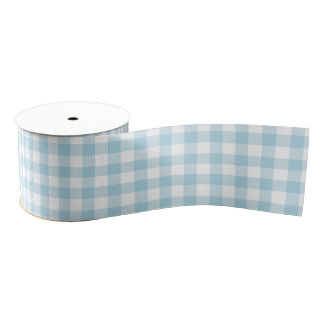 Pale Blue Gingham Grosgrain Ribbon