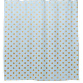 Pale blue gold dots bathroom shower curtain