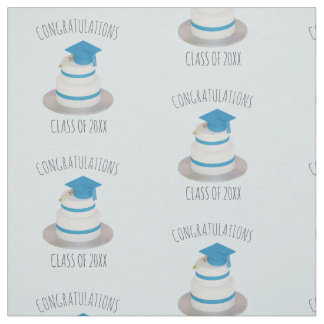 Pale Blue Graduation Cake Congrats Pattern Fabric