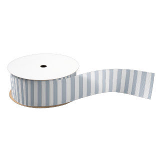 Pale Blue Grey and White Stripes Grosgrain Ribbon