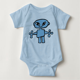 Pale Blue Infant Creeper with Blue Alien