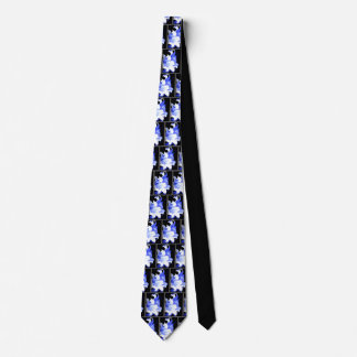 Pale blue lilies on black tie