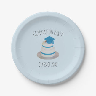 Pale Blue Low Poly Graduation Cake Paper Plates 7 Inch Paper Plate