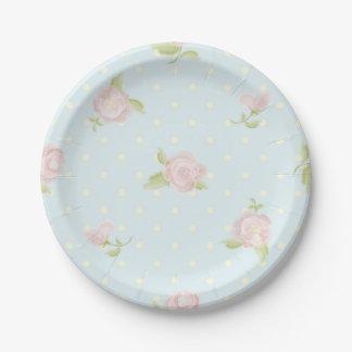pale blue polka dot cream vintage floral pink 7 inch paper plate