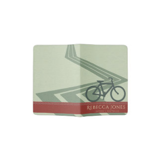 PALE BLUE RED LEATHER BIKE BICYCLE ROAD MONOGRAM PASSPORT HOLDER